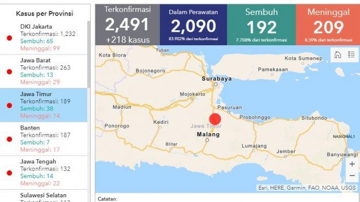 Daftar Sebaran Virus Corona di 32 Provinsi di Indonesia Senin (6/4/2020), Total 2.491 Kasus