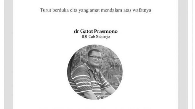 IDI Berduka, Dokter Gatot Prasmono Meninggal Dunia Berstatus Positif Covid-19 di RSUD Sidoarjo